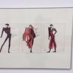 Entwürfe der Designerin Anne Kranz-Mogel von 1989 in Mischtechnik für Exquisit